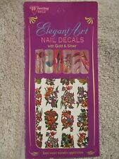 Winning Elegant Art Nail Decals with Gold & Silver Water Transfer Florals #419A