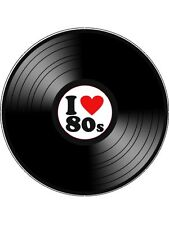 "Novelty I Love 80's Vinyl Look 7.5"" Edible Wafer Paper Cake Topper"