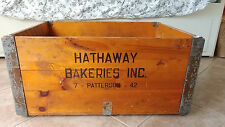 Vintage Bakery Box Wooden Bread Crate Hathaway Bakery Original Authentic Huge
