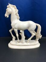 VINTAGE ALABASTER HORSE SCULPTURE BY A. SANTINI MADE IN ITALY