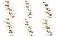 Silver Plated Free Postage Cuff Handmade Multi Gemstone Jewelry 15Pcs