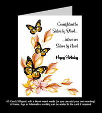 'Not Sisters by Blood, but Sisters by Heart' A5 Best Friend Birthday Card - PR1b
