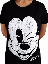 Mickey Mouse Wink Face Beaten Disney Minnie Mini Official Black Womens T-shirt 2xl