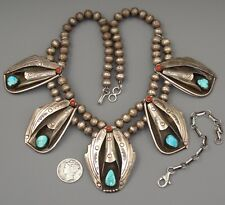 Old Pawn Navajo TURQUOISE CORAL Cluster VINTAGE Sterling Squash Blossom NECKLACE