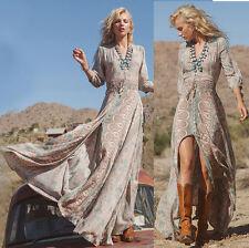 Boho Women Summer Floral Long Maxi Skirts Casual Beach Dress Sundress Plus Size