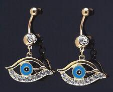 1) Single Fancy 14K Gold Plated Dangle Evil Eye Ball Belly Ring 14g CZ Navel 290