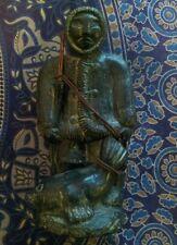 "A Wolf Original Sculpture Canada Statue Inuit Eskimo and Seal 10"" Tall"