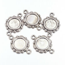20pcs Flower Tibetan Silver Round Alloy Connector Links Blanks Cabochon Setting