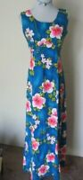 VTG 60'S Hibiscus Tropical Floral Print Blue Pink Barkcloth MAXI DRESS M