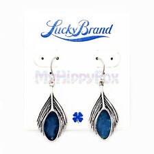Lucky Brand Antiqued Silver Tone Hippy Peacock Feather Blue Stone Drop Earrings
