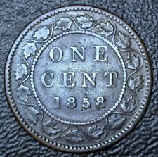 OLD CANADIAN COIN 1858 ONE CENT LARGE CENT - BRONZE - Victoria - KEY DATE