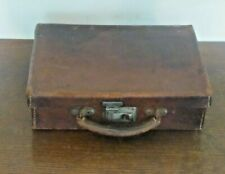 Vintage Small Brown Leather suitcase 31x22x8cm