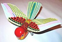 Vintage tinplate MECHANICAL FLAPPING BIRD Tin Toy  Japan Yone Litho Wind Up