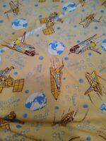 "7 Yards 27"" Vintage Space Shuttle Flannel Fabric Kids PJ Safe"