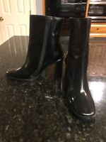 Free People Black Leather Heeled Boots, Size 38, New!