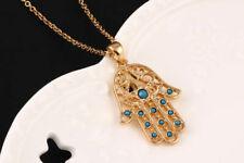 Hand of Fatima Hamsa Turquoise Necklace Khamsa Kabbalah Spiritual Gold Plated