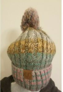 C.C. Original Solid Ribbed Beanie With Fur Pom Pom Multi Colors NEW *