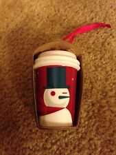 "STARBUCKS 2012 SNOWMAN ""TO GO"" COFFE MUG ORNAMENT - NEW!"
