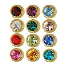 Ear Piercing Earring Studs 4mm Assorted Colors Gold Plated Surgical Steel 12 Pr