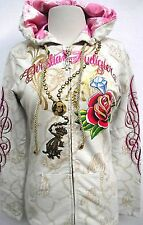 CHRISTIAN AUDIGIER WOMENS PLATINUM MARY FULL OF GRACE Authentic HOODIE SZ S