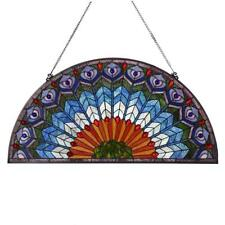 Bieye 36 inches Peacock Tiffany Style Stained Glass Window Panel