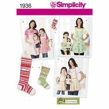 Simplicity SEWING PATTERN 1936 Misses,Child & Doll Aprons & Stocking Decorations