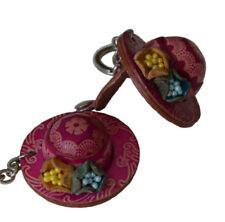 Genuine Leather Keychain/bag-charm,new Stylish Straw Hat shaped, Hot Pink
