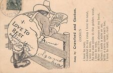 I Love To Rest~Song~Chorus~By Crawford & Gaston Music Related Postcard 1900s