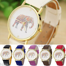 Fashion Women Elephant Pattern Dial Watch Faux Leather Quartz Wrist Watch Analog