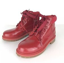 Timberland Girls Kids NEW Red Premium Waterproof Boots US 2 Patent Leather Shine
