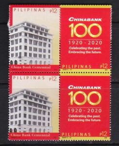 2021 Philippines 100th Year of China bank 2 values in Block/4 mint NH