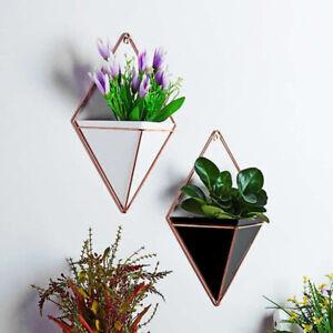 Wall Mounted Geometric Plant Flower Pot Hanging Planter Holder Wall Vase Basket