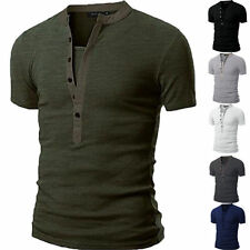 Fashion Men's Slim Fit V Neck T-shirt Muscle Tee Casual Tops Short Sleeve Blouse