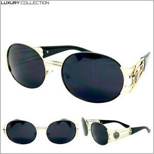 Men's Classic Retro Luxury Designer Style SUNGLASSES Oval Gold Frame Dark Lens