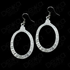 Silver Circle Ring Oval Hoop Earrings Ottoman Turkish Ethnic Tribal Gypsy Boho