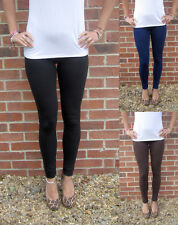 LONG Leggings HIGH WAIST Cotton Black  UK 8 10 12 14 16 18 20 22 24 26 28 Tall