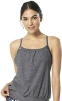 Speedo 252510 Women's Powerflex Blouson Grey Tankini Top Swimwear Size M