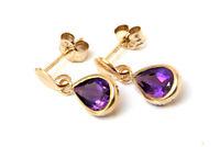 9ct Gold Amethyst Teardrop Dangly earrings Gift Boxed Made in UK