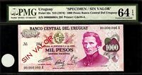Uruguay 1000 Pesos 1974 SPECIMEN PMG 64 EPQ UNC Pick # 52s S/N 00000000A 201