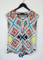 PIPER // Size 10 // Zip Front Print Lightweight Summer Blouse Top