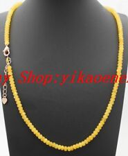 "Natural 2x4mm Yellow Jade Faceted Rondelle Gemstone Beads Necklace 18""AAA"