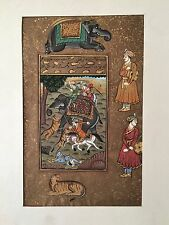 Indian Miniature Painting Mughal Maharaja Tiger Hunting Scene 20th Centuary