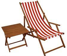 Chaise Longue Rouge-Blanc de Jardin Table Plage Pliable 10-314 T