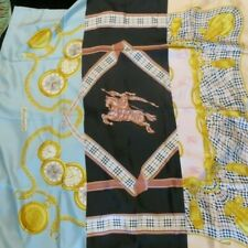 """NWT MSRP $400 BURBERRY Printed 100% Silk Scarf Blue Pink 35""""x35"""" MADE IN ITALY"""
