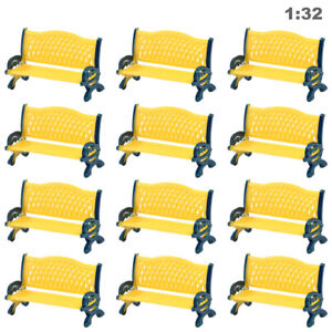 12pc Model Train Platform Park Street Seat Bench Chair Settee 1:32 G O Scale