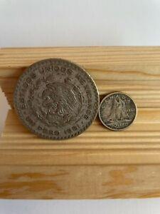 1961 Mexico 1 Peso Silver & 1963 Canada 10 Cents Silver