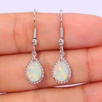 Silver Plated White Fire Opal Wedding Vintage  Women Dangle Drop Earrings Hoop