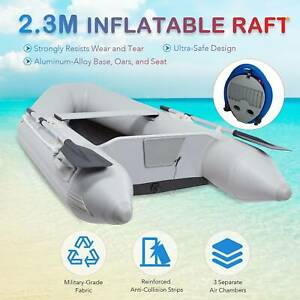 2.3M Inflatable Heavy Duty Boat Dinghy Kayak 2 Adultsfor Fishing Playing W/Oars