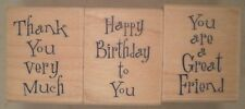 Happy Messages Wood Mounted Rubber Stamps, Hero Arts LL748, Great Friend, Thanks