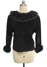 Vtg Char Santa Fe Black Suede Leather Top Fur & Lace Trim Long Sleeve sz 8/10
